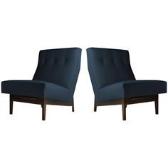 Pair of Floating Jens Risom Slipper or Lounge Chairs   From a unique collection of antique and modern slipper chairs at https://www.1stdibs.com/furniture/seating/slipper-chairs/