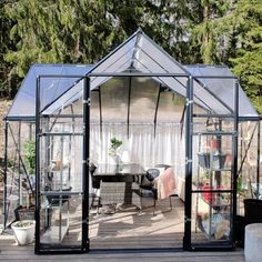 Victory Orangery Greenhouse 10,2 m² - Review at Hemfint Sweden: The greenhouse is so damn nice! The assembly was less fun but is super happy with the result! Large Greenhouse, Greenhouse Ideas, Enclosed Gazebo, Super Happy, Victorious, Sweden, World, Nice, Summer