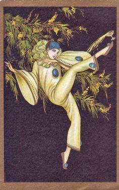 Pierette postcard 1920s