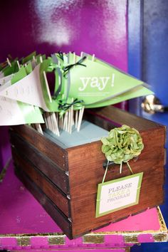 flags double as wedding programs. Could be cute.