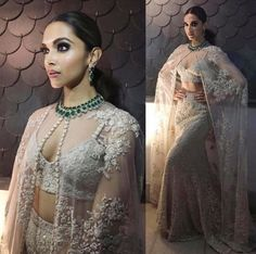 Glam Gal - Deepika Padukone Glam Point - IIFA 2016 Glam Check - Deepika wore a Sabyasachi Mukherjee creation, this outfit was inspired by spanish bull fighters, a godet skirt with a cape! It was mesmerising -Your Glam Pal, Bee & Blu by Srishti Saris, Bollywood Fashion, Bollywood Actress, Bollywood Style, Indian Bollywood, Sabyasachi Gown, Lehenga Blouse, Lengha Choli, Lehenga Style