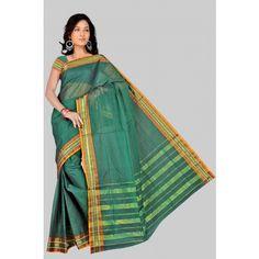 Pavecha's Mangalgiri Pure Cotton Sari -Shrimathi Green - Cotton Sarees by M.K.Synthetics