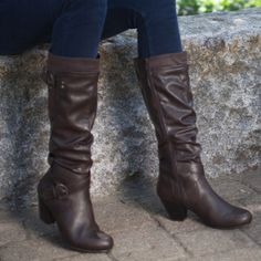 Boot features a full zip with elastic gore. Contrasting suedette panel on outer calf. A subtle velvet touch brings a fashion statement to this beautifully crafted boot.  Rialto Shoes Coralynn Espresso Boot Rialto