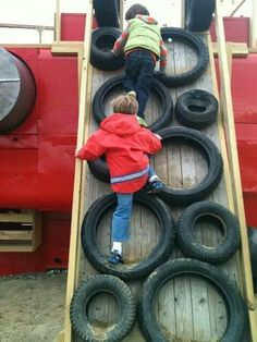 Climbing wall. A great way to recycle old tires