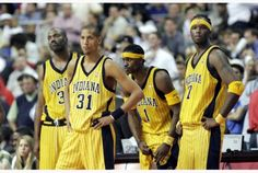 Former Indiana Pacer Reggie Miller, second from left, said he was disappointed in his adopted home state.