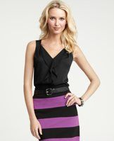 Cascade Ruffle Shell - Ruffles add a fluid, wear-now twist to this gorgeously polished style, cast in a palette of richly saturated colors. V-neck. Sleeveless.