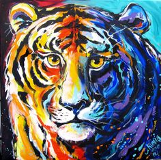 Tiger Hand Painted, Painting, Image, Fan, Renting, Canvas Frame, Idea Paint, Animals, Art
