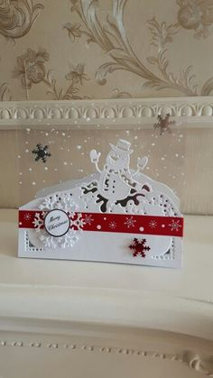 Made by Diane Greaves using Die'sire edgable snowman die.  Cute card for my cute grandchildren