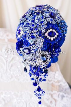 Royal Blue Cascade Brooch Bouquet by Ruby Blooms Bouquet Bling, Wedding Brooch Bouquets, Bride Bouquets, Fabric Bouquet, Cobalt Wedding, Blue Wedding, Wedding Flowers, Marie, Royal Blue