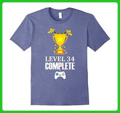 Mens Funny Level 34 Complete T-shirt 34th Birthday Gamer Gift Tee 2XL Heather Blue - Gamer shirts (*Amazon Partner-Link)