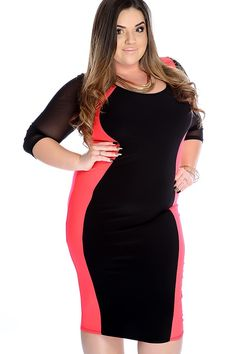 Make a statement with this sexy dress! Featuring two tone, mesh quarter sleeves, scoop neck, and fitted. 96% Polyester, 4% Spandex