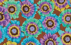 """Philip Jacobs PWPJ057 Painted Daisy Turquoise Kaffe Fassett Collective Designer Quilting 18"""" HY Rowan Westminster Half Yard 18"""" Quilt Fabric by KinshipQuilters on Etsy"""