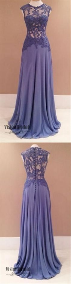 Purple Round Neckline Lace Chiffon Floor Length Prom Dress,Affordable Prom Dress, Party Dress, Prom Dresses, VB0211 #promdress