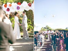 Paper Flower Wedding Arch - photo by Annie McElwain