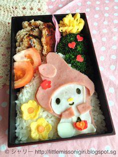 My Melody Kyaraben Bento Lunch (ham, egg white only thin omelette, crab kamaboko, seaweed, thin egg omelette) © シャリー