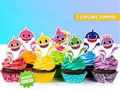 baby shark cupcake toppers, baby shark cake, baby shark printables, baby shark p. Shark Birthday Cakes, Baby Boy 1st Birthday, Boy Birthday Parties, Birthday Ideas, Birthday Gifts, Shark Cupcakes, Shark Cake, Shark Party Foods, Rosalie