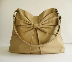 Sale - Khaki Canvas Bag, purse, tote, messenger bag, hobo, bow, cute, stylish - Martha sur Etsy, $36.96 CAD