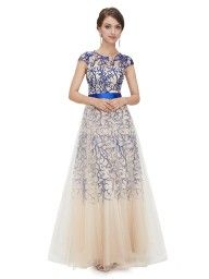 Blue Lace Split Side Half Sleeve Bodycon Maxi Dress   Choies