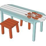 Love to make this surfboard table but make it more of a desk for my nephew's room.  Great study area.