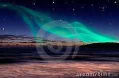 Aurora on the night sky early in the evening