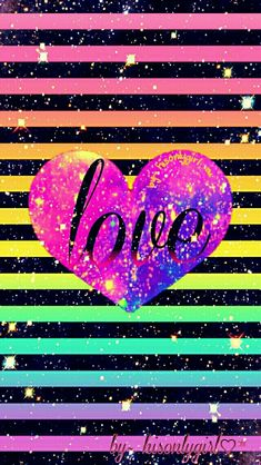 Love striped heart galaxy wallpaper I created for the app CocoPPa.
