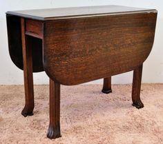 OAK GATE LEG DROP SIDE DINING TABLE CA 1900s