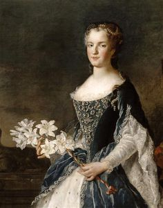 Detail from a portrait of Marie Leszczyńska, the wife of Louis XV, by Alexis Simon Belle. 1730.