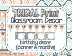 """Display the birthdays of the students in your classroom with this TRBAL PRINT set - perfect for a bulletin board, door or other display. Includes a """"birthdays"""" banner and blank month shapes to write in student names and birthdays. Laminate it so you can erase the names and use year after year!"""