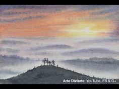 Cómo pintar un atardecer en acuarela - Paisaje, colinas - YouTube