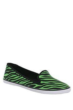 Green Zebra Canvas Flats