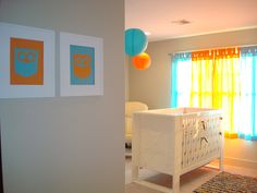 aqua and orange nursery
