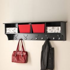 Black Wide Hanging Entryway Shelf - Prepac for an ever expanding household, the Wide Hanging Entryway Shelf will keep your entryway belongings together in one place! Suitable for any front hallway, foyer or mudroom, the four compartm Cubby Shelves, Hanging Shelves, Wall Storage, Cubbies, Shelving, Floating Shelves, Storage Baskets, Storage Cabinets, Storage Hooks
