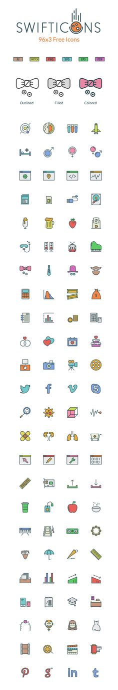 I'm happy to share with you this remarkable set of icons that comes with three different variations: outlined...