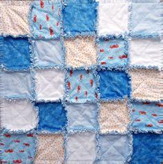 Seahorse Babies Handmade Rag Quilt