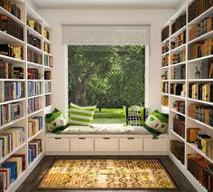 library room ideas modern home library design white open bookshelves library room ideas modern home library design white open bookshelves dark brown wooden floor bay window seat treatment square strip Beautiful Library, Dream Library, Future Library, Home Library Design, House Design, Library Ideas, Library In Home, Reading Library, Small Home Interior Design