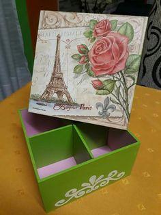 Cajitas decoradas Decoupage Box, Paris, Handicraft, Embroidery Stitches, Decorative Boxes, Hand Painted, Crafts, Painting, Home Decor