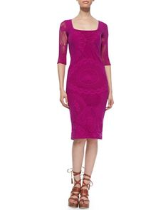 B2HXC Jean Paul Gaultier 3/4-Sleeve Lace Sheath Dress, Magenta