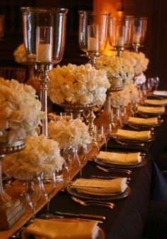 Neutral wedding reception tablescape, if you can't pick a color, creams and whites always work.