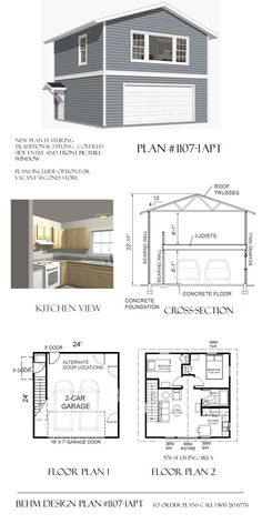 One bedroom garage apartment over two car garage plan for One bedroom apartments with attached garage