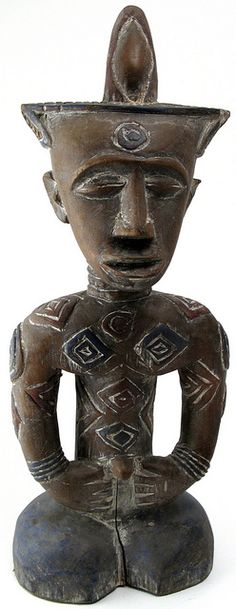 Africa |  Ndengese (Mongo ethnic group) Figure,  DR Congo. |  Ndengese style is represented by a small number of ancestral figures differentiated from Kuba style by extensive scarifications and a geometric body design.