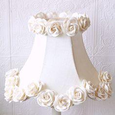 Cream Dupioni Silk Lamp Shade with Roses