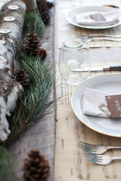 Give traditional ideas an unexpected twist, such as using sheets of Christmas carol music as placemats. Also, using heavy tree branches as a table runner with cut outs to insert candles. Get the celebrations started with a sequin and chevron table runner; we all know that sequins are a cue for partying.
