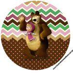 Rotulo Latinhas, Toppers e tubete Masha e o Urso Kit Festa