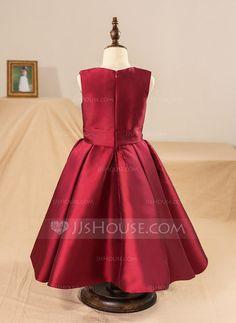 Ball Gown Scoop Neck Tea-length Bow(s) Satin Sleeveless Flower Girl Dress (Petticoat NOT included) Flower Girl Dress