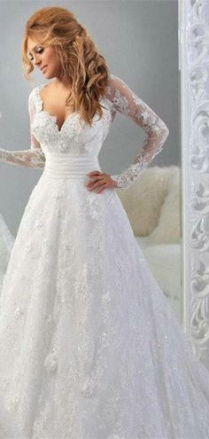 Flowers Long Sleeves Princess Diamond Chapel Train Wedding Gown