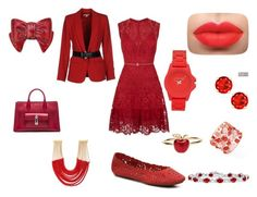 """""""Scarlet Love"""" by preciousdieyi ❤ liked on Polyvore featuring Elie Saab, Miz Mooz, Rosantica, Alison Lou, Vince Camuto, MICHAEL Michael Kors, Balenciaga and Judith Leiber"""