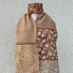 Écharpe, étole, fantaisie, femme, tissu coton laine galon, marron camel,  cadeau, unique, originale, accessoire, hiver cb5e46ec8bf