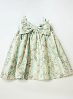 light blue and cream stripped grey floral Big Bow dress Kids Outfits, Cute Outfits, Easter Dress, Little Dresses, Dress With Bow, Handmade Clothes, Baby Dress, Mini, Kids Fashion