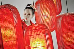 Enthused by warm oriental hospitality, the Geisha lamps offer a modern expression of the past for today. It embraces sensitivity to culture through the use of natural rattan or polyethylene fiber woven over handmade l. Geisha, Paper Lanterns, Ceiling Lights, Lighting, Outdoor, Image, Beautiful, Color, Design