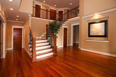 House living room with stairs and living room stairs home design ideas 2018 staircase design Cherry Hardwood Flooring, Hardwood Floor Colors, Cherry Wood Floors, Painted Wood Floors, Wooden Flooring, Laminate Flooring, Engineered Hardwood, Mahogany Flooring, Flooring Sale